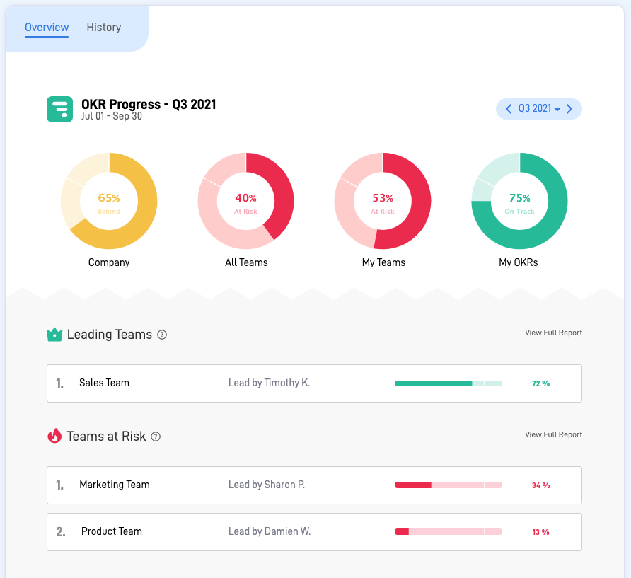 Dashboard Reports to see everyone's progress